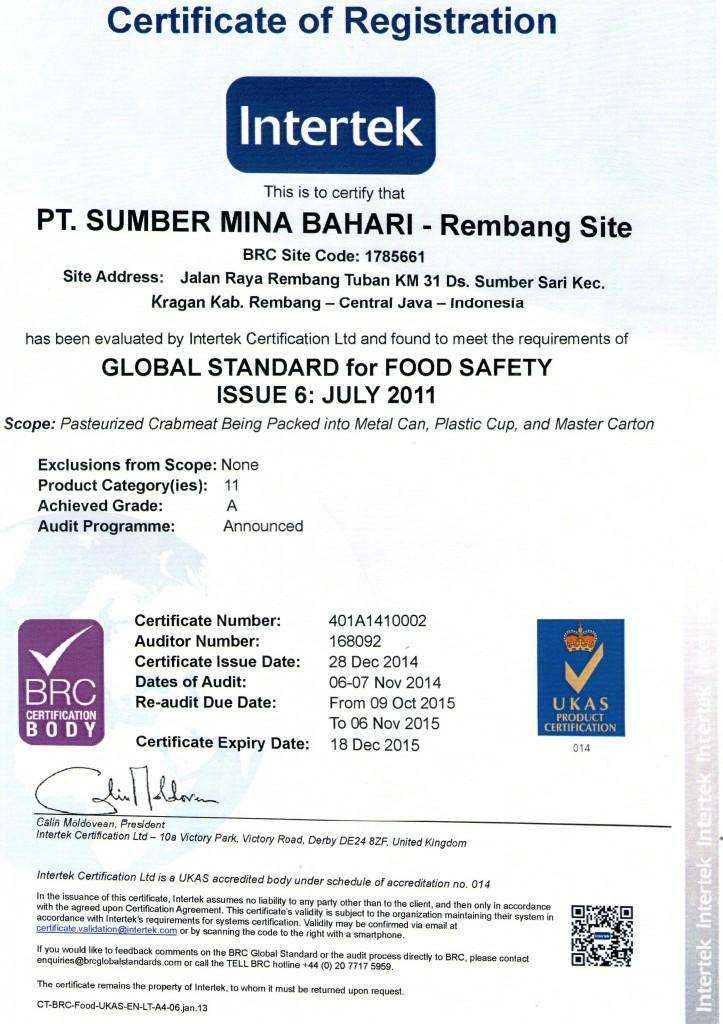 sertifikat BRC